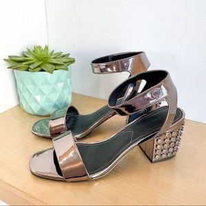 KENDALL & KYLIE Gunmetal Metallic Strappy Sandals